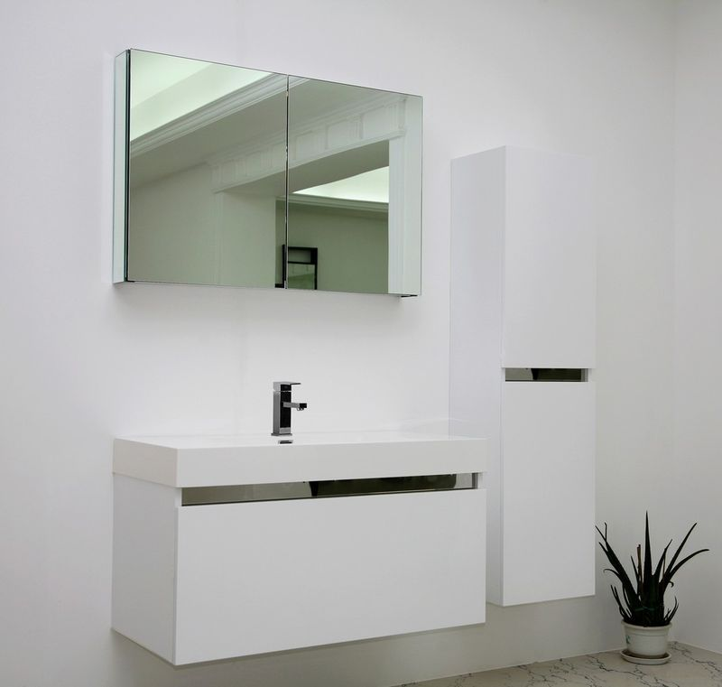 Amazing Modern Bathroom Vanity Unit In White Gloss