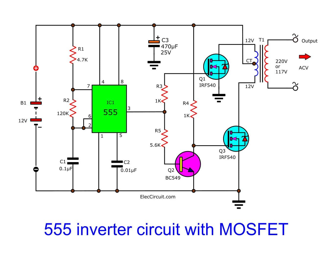 Make Simple 555 Inverter Circuit Using Mosfet Eleccircuit Com Electronics Circuit Electronic Circuit Design Circuit Diagram