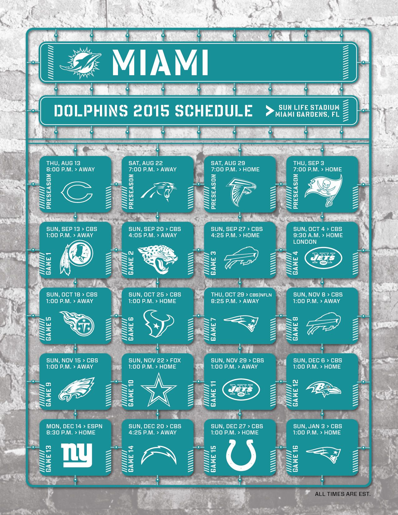miami dolphins 2015 schedule | 2015 nfl and college schedules