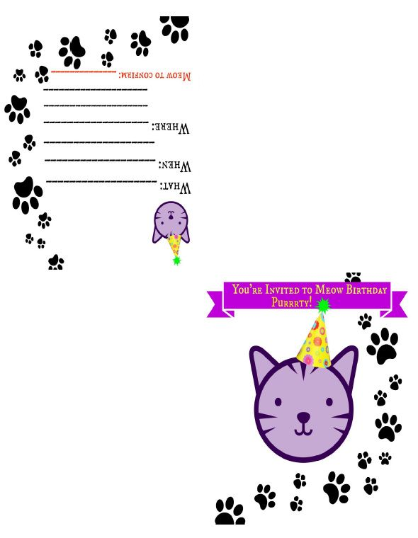 Zensible Mama FREE Printable Cat Themed Birthday Invite Card