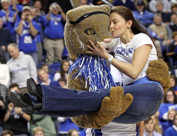 Ashley Judd kisses the University of Kentucky mascot during a timeout at a UK basketball game in 2010. Judd, an alum, is a mainstay at UK basketball games and is considering running for Senate in Kentucky in 2014. (James Crisp/AP) http://www.payscale.com/research/US/School=University_of_Kentucky_(UK)/Salary?RCPopupTest=RCPOPUPTHIRDPAGE