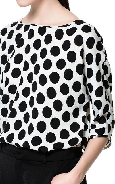 Blusa Estampada Lunares Camisas Mujer Zara México Ropa Moda Camisas Mujer Zara