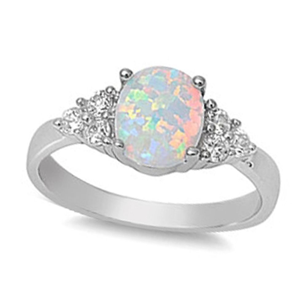 white opal sterling silver cz promise engagement ring