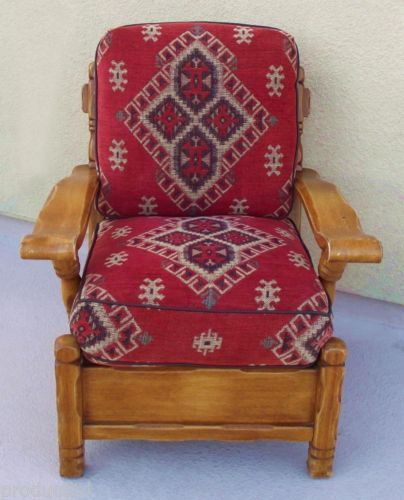 Captivating VINTAGE ROBERTI BROS MONTEREY RANCH WESTERN STYLE CUSHIONED CLUB CHAIR  C.1950s