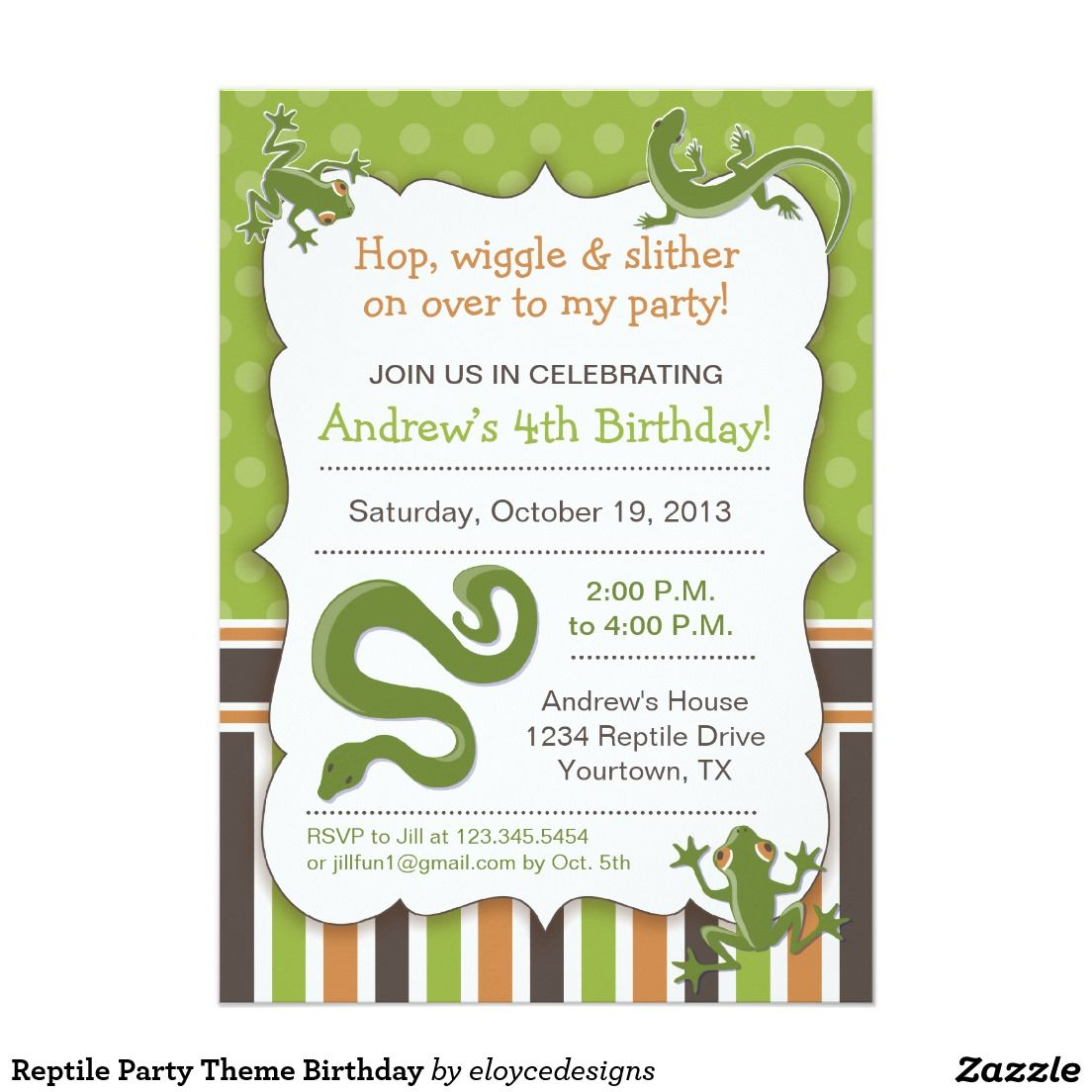 Reptile Party Theme Birthday Invitation Zazzle Com Boys