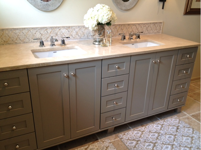 VREELAND ROAD: Before and After: Client Master Bath  Like this cabinet color