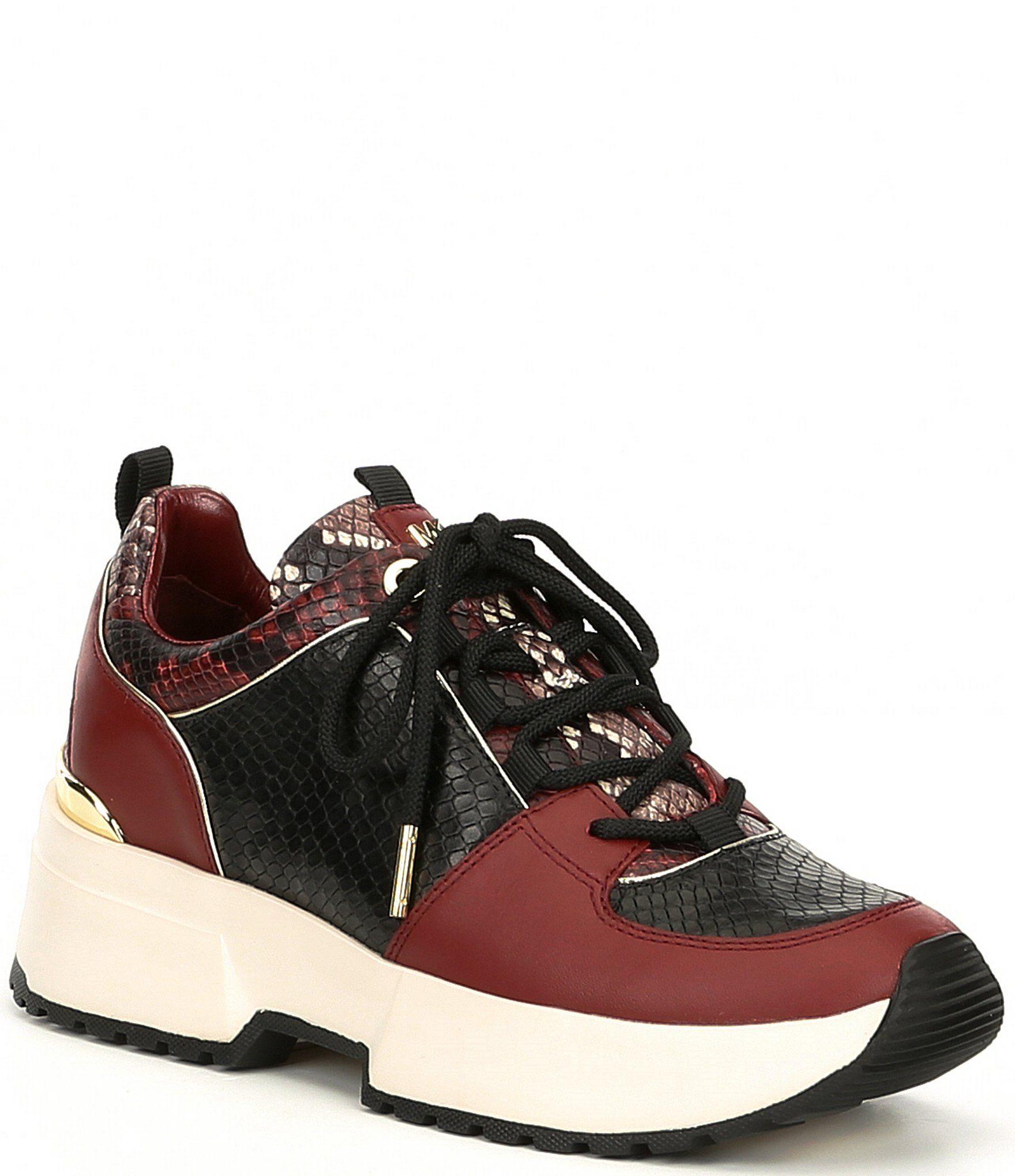 MICHAEL Michael Kors Cosmo Snake Print Embossed Leather & Metallic Leather Wedge Trainers | Dillard's