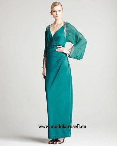 Langarm Abendkleid in Grün | Abendkleid, Kleider, Kleider ...