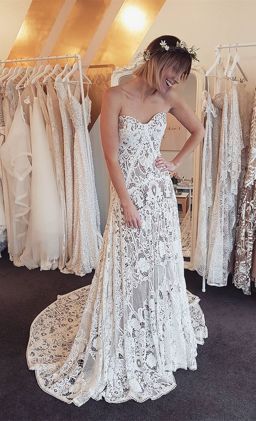 Aline sweetheart sweep train lace beach wedding dress wedding