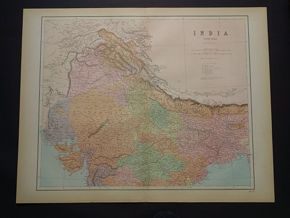 INDIA old map of India LARGE 1875 original antique poster of north