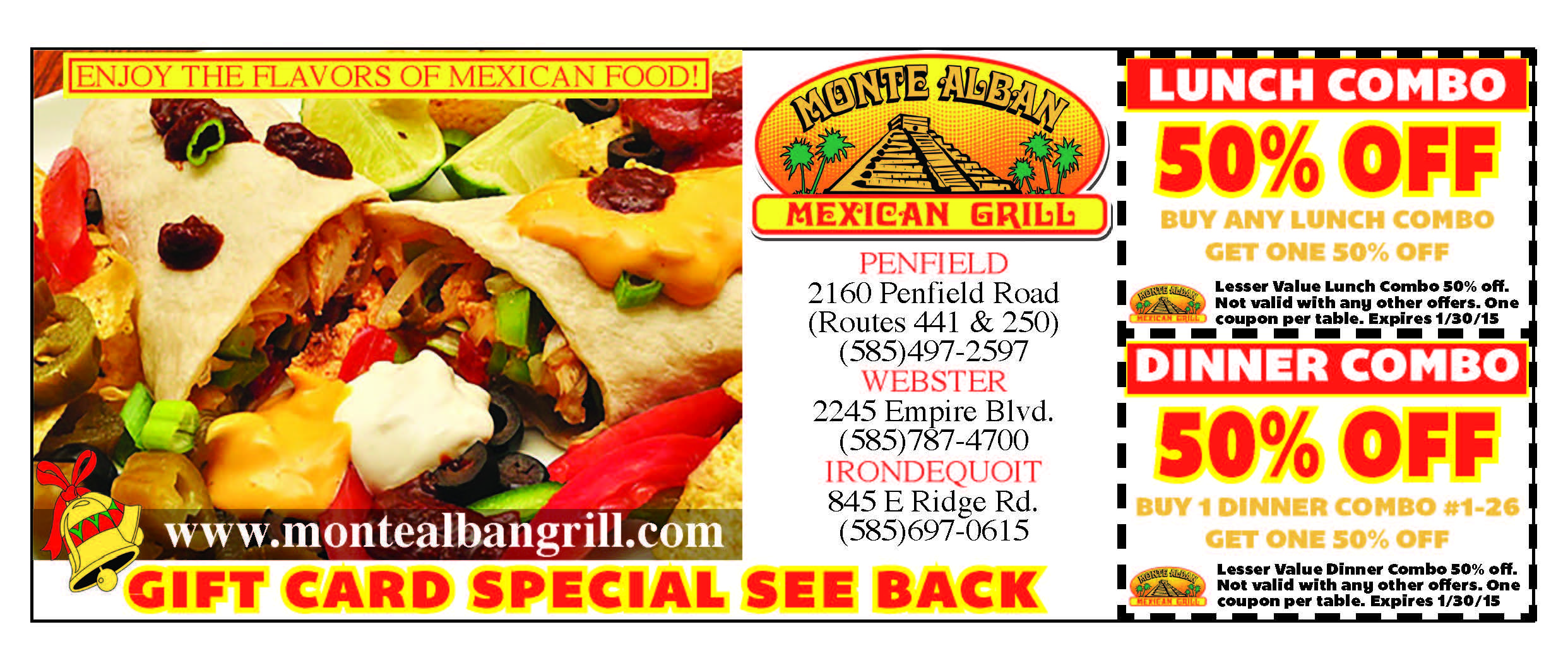 Enjoy huge savings from the delicious Monte Alban Mexican Grille!