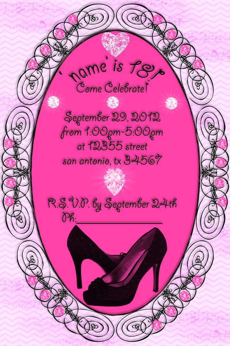 18th birthday party invitation diva party invitation – Diva Party Invitations