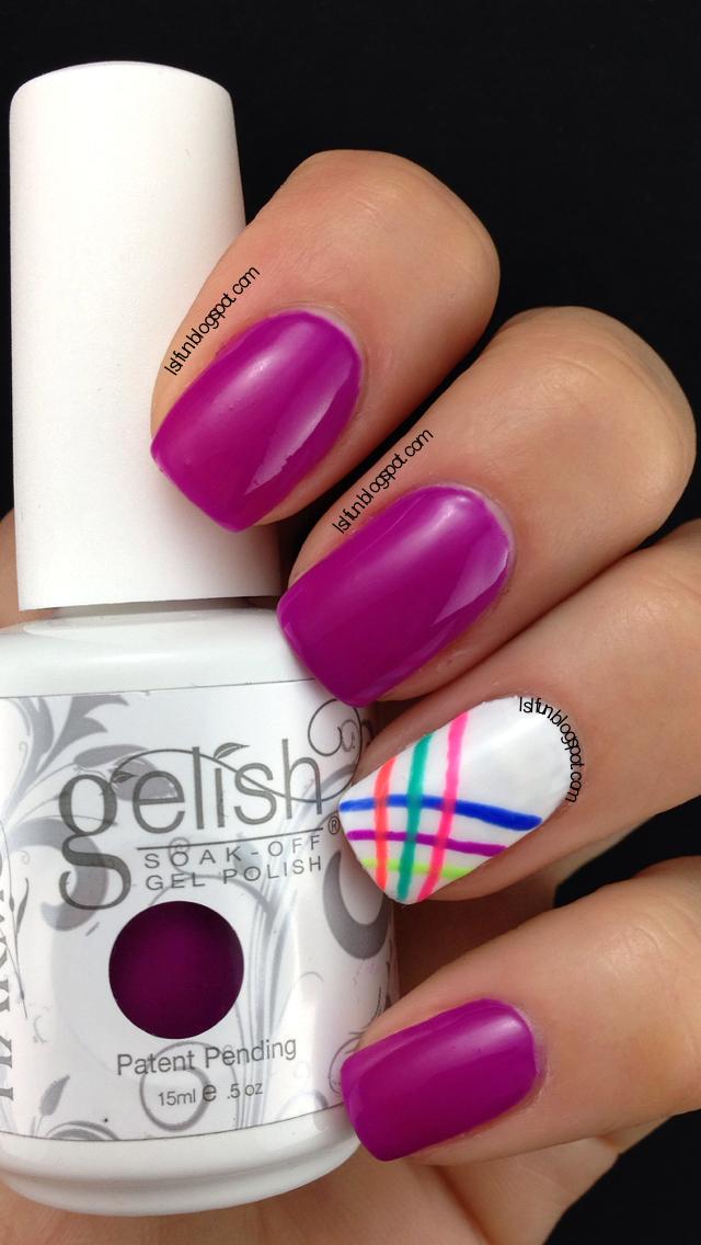 One Color - Three Simple Nail Designs Gelish Tahiti Hottie #gelish ...