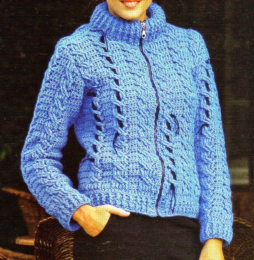 campera tejida en crochet modelo 2 Tejida en fibra acrílica azulina ...