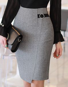 5760908480 Circle Buckle Side Detail Wrap Style Pencil Skirt