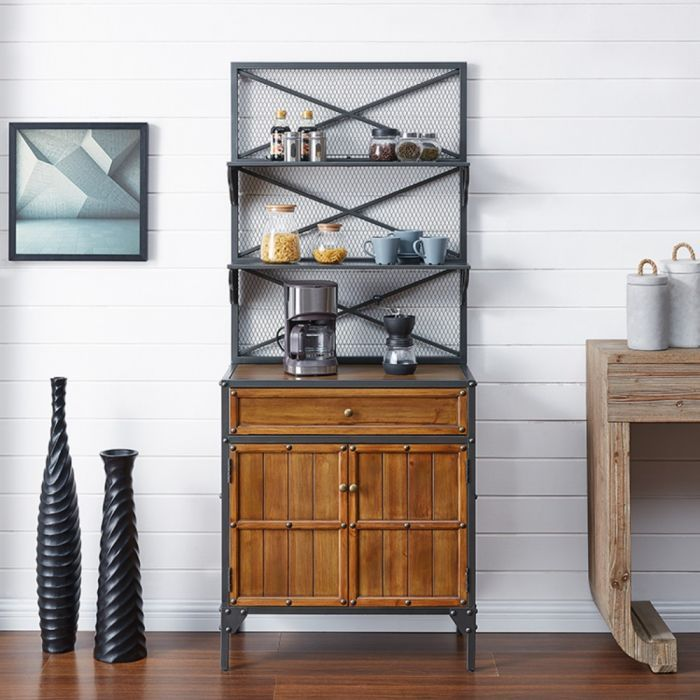 Bexfield Bakers Rack In Gunmetal Gray W Natural Pine Southern