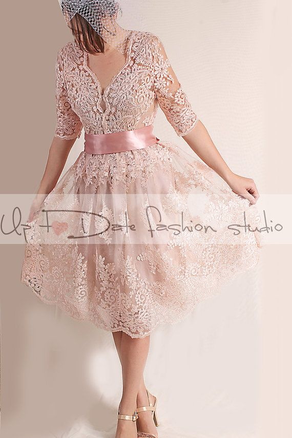 Party Tail Evening Short Alencon Lace Dress 3 4 Sleeves Open Back Blush Pink
