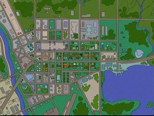 A Map of Springfield from the Simpsons. This map would make a great Map Of Springfield Simpsons on