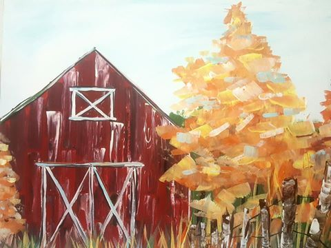 www.centreforartsandartists.org painting by Iowa Artists oil acrylic how to lesson easy beginner farm barn fall trees