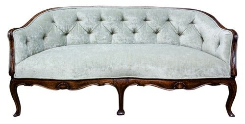 18th Century Queen Anne Sofa Carved Pad Feet And Curved Apron