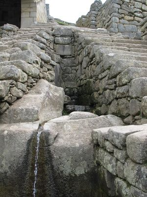 Inca: The Liturgical Fountains of Machu Picchu. Sixteen fountains had spiritual and sacred value to the Citadel.  This civilization used to believe that the natural elements, like water or fire, were actually gods, originating the Inca mythology.