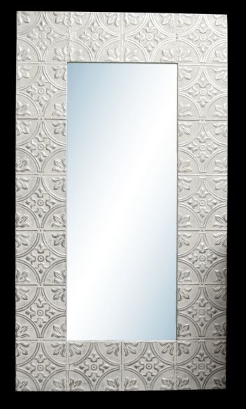 Big Diamond Flowers 10 In Tin Framed Mirror With Images Tin Framed Mirrors Tile Mirror Frame Tin Mirrors