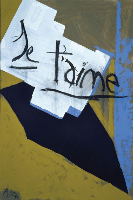 Robert Motherwell | Je t'aime with Gauloise Blue, 1976 | Acrylic, collage and charcoal on canvas | Modern Art Museum of Fort Worth