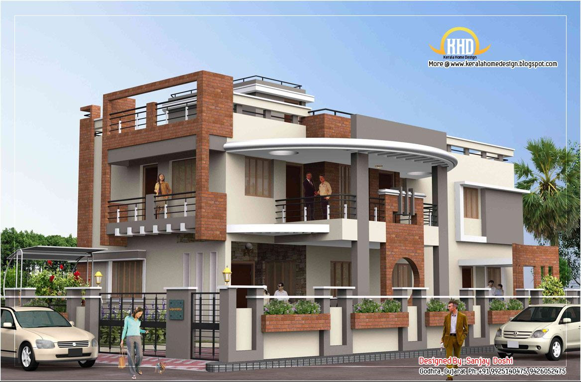 Nice duplex house plan and elevation for Duplex townhouse designs