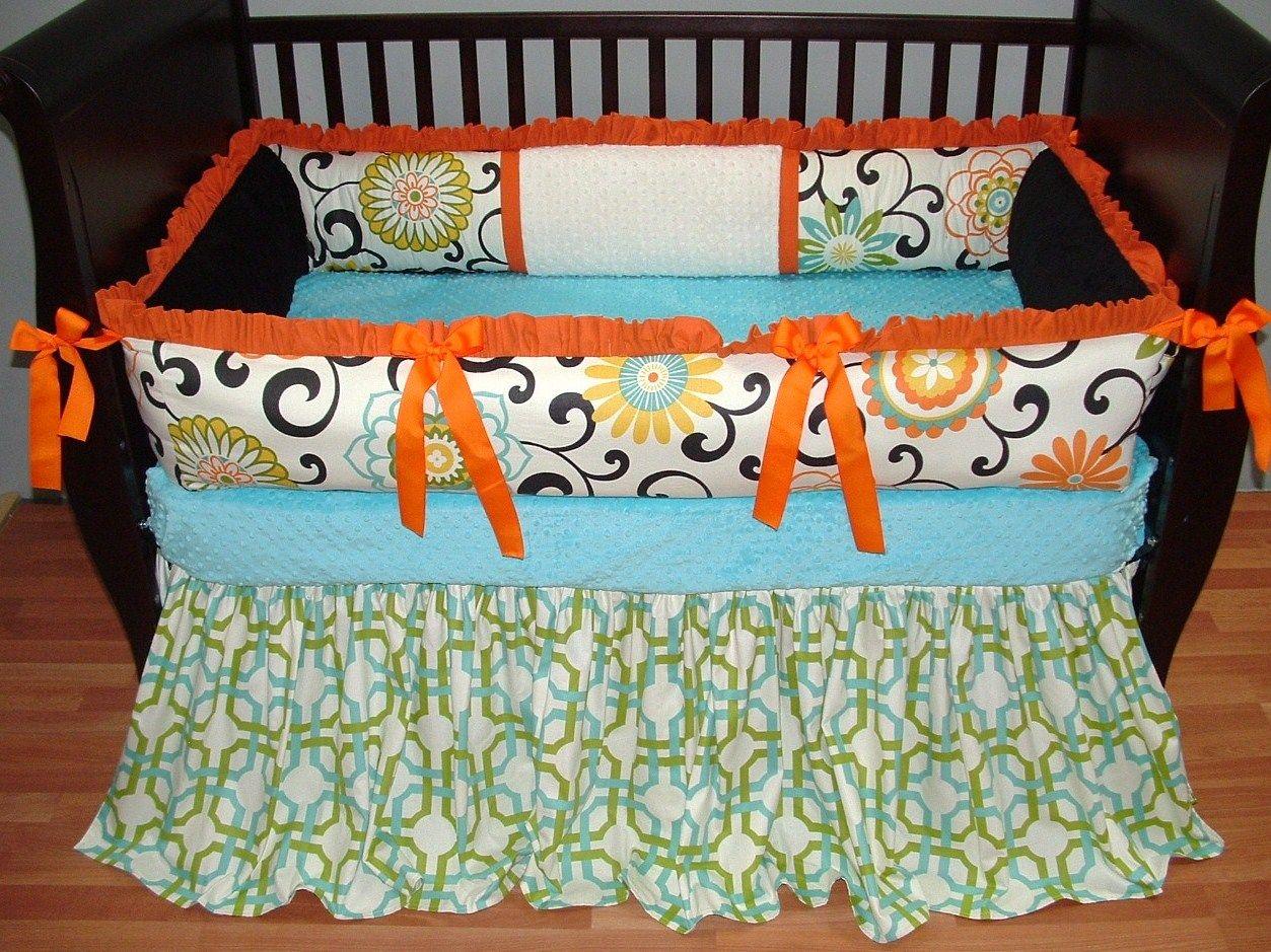 solid crib large designs bedding sheet cribs orange carousel