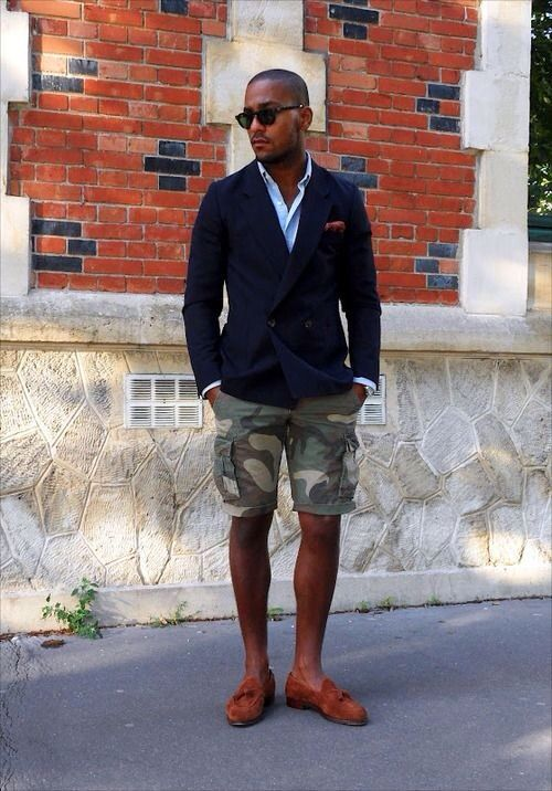 Camouflage shorts with suit jacket. Hmm... the-suit-man: Mens fashion inspiration for spring & summer ! http://the-suit-man.tumblr.com/
