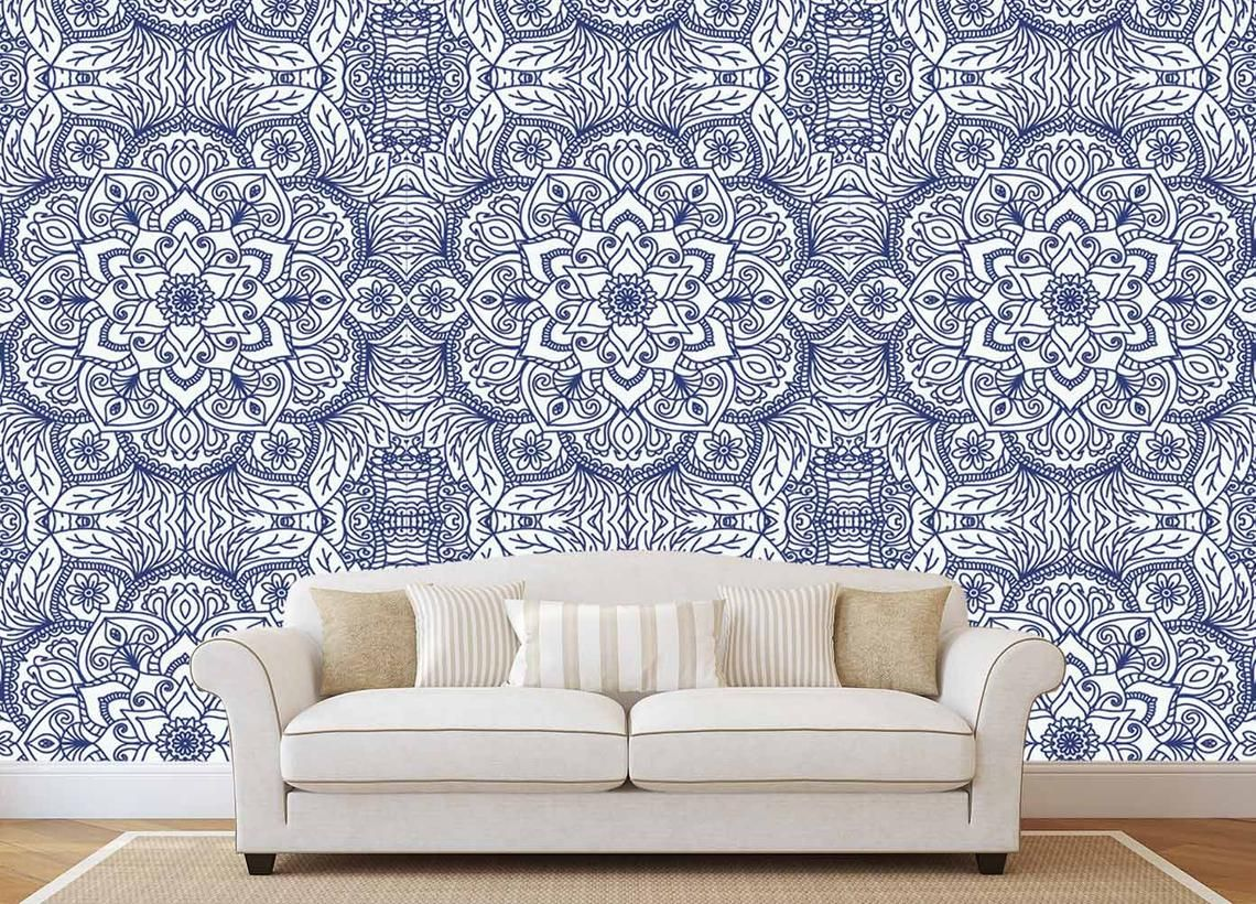 Mandala Wallpaper Lotus Indian Wallpaper Bohemian Removable Etsy Mandala Wallpaper Removable Wallpaper Wallpaper