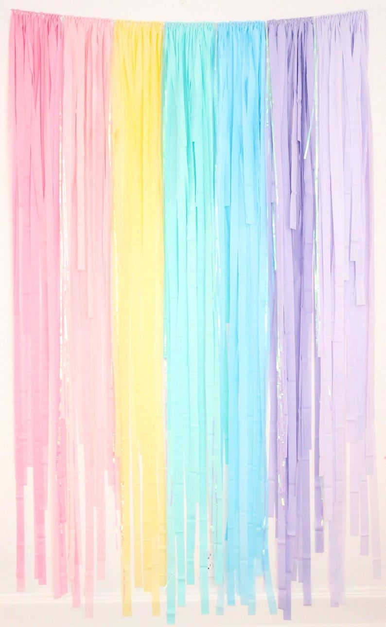 Pastel Rainbow Party, Pastel Rainbow, Birthday Party, Rainbow Party Decor, Streamer Backdrop, Fringe Backdrop, Photo Backdrop