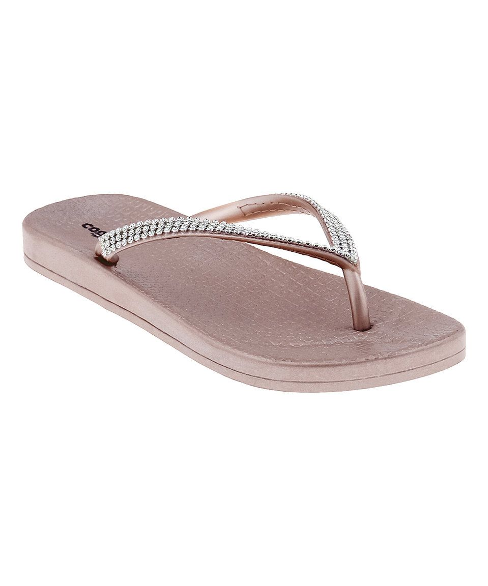 Take A Look At This Rose Gold Gray Rhinestone Flip-Flop -2595