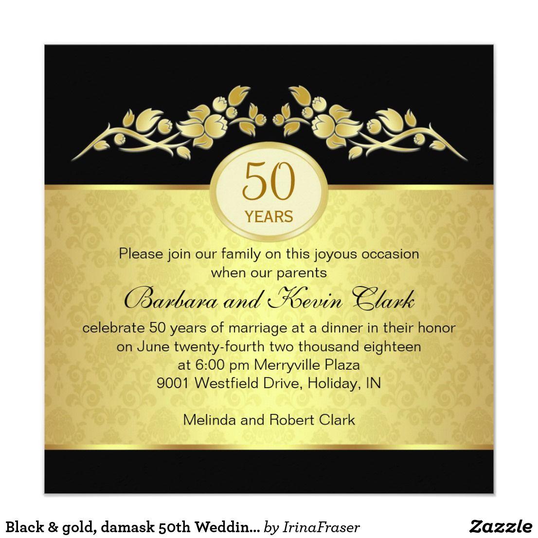 Black & gold, damask 50th Wedding Anniversary Invitation