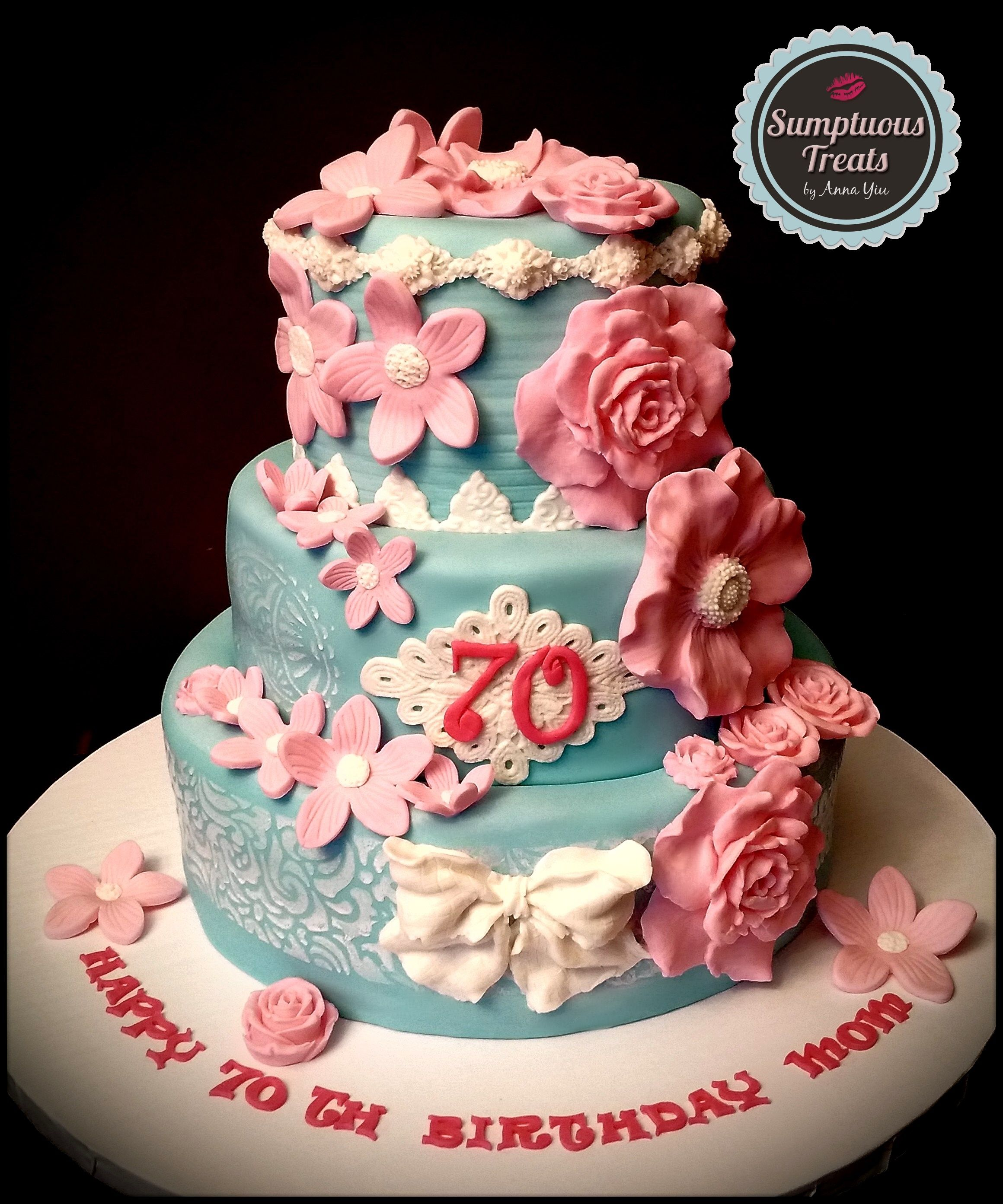 70TH Birthday Cake CustomMadeToOrder Cakes Desserts Edible