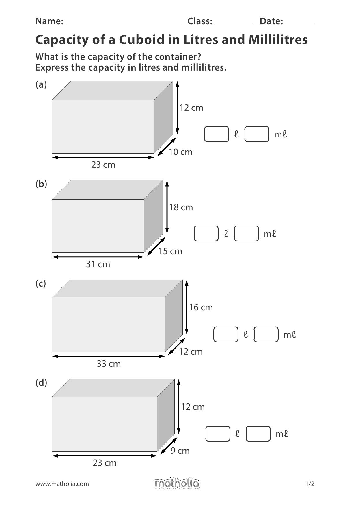 Capacity Of A Cuboid In Litres And Millilitres Play To Learn Teaching Geometry Capacity Worksheets [ 1753 x 1240 Pixel ]