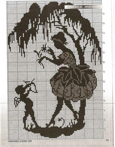 Вышивка крестиком схемы для вышивки монохром 44