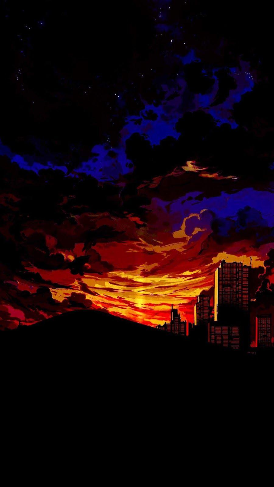 Anime Sunset In The Desert Landscape Wallpaper Scenery Wallpaper Swag Wallpaper