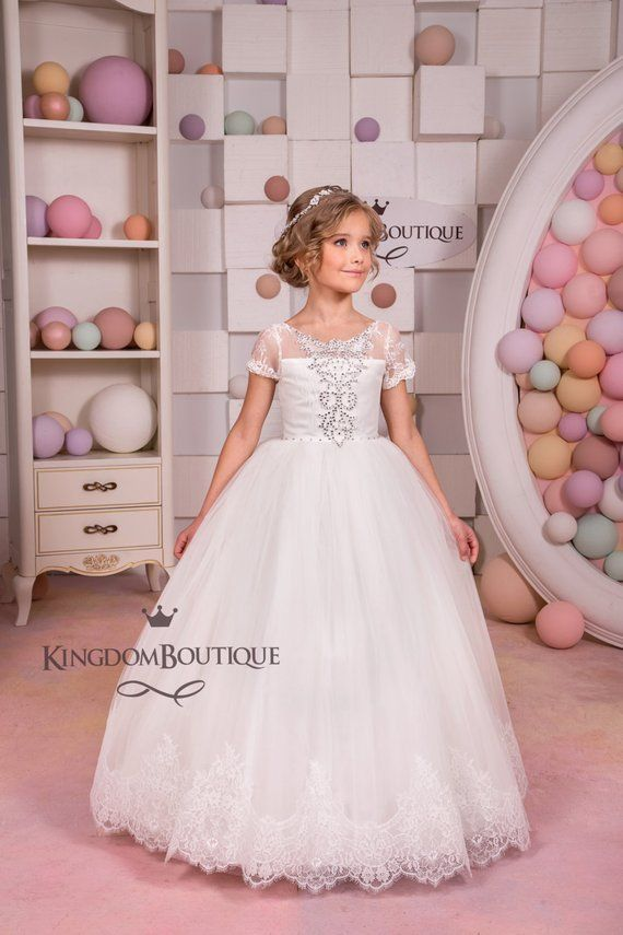 f87a6da81981 Ivory Lace Flower Girl Dress - Wedding Party Holiday Bridesmaid ...