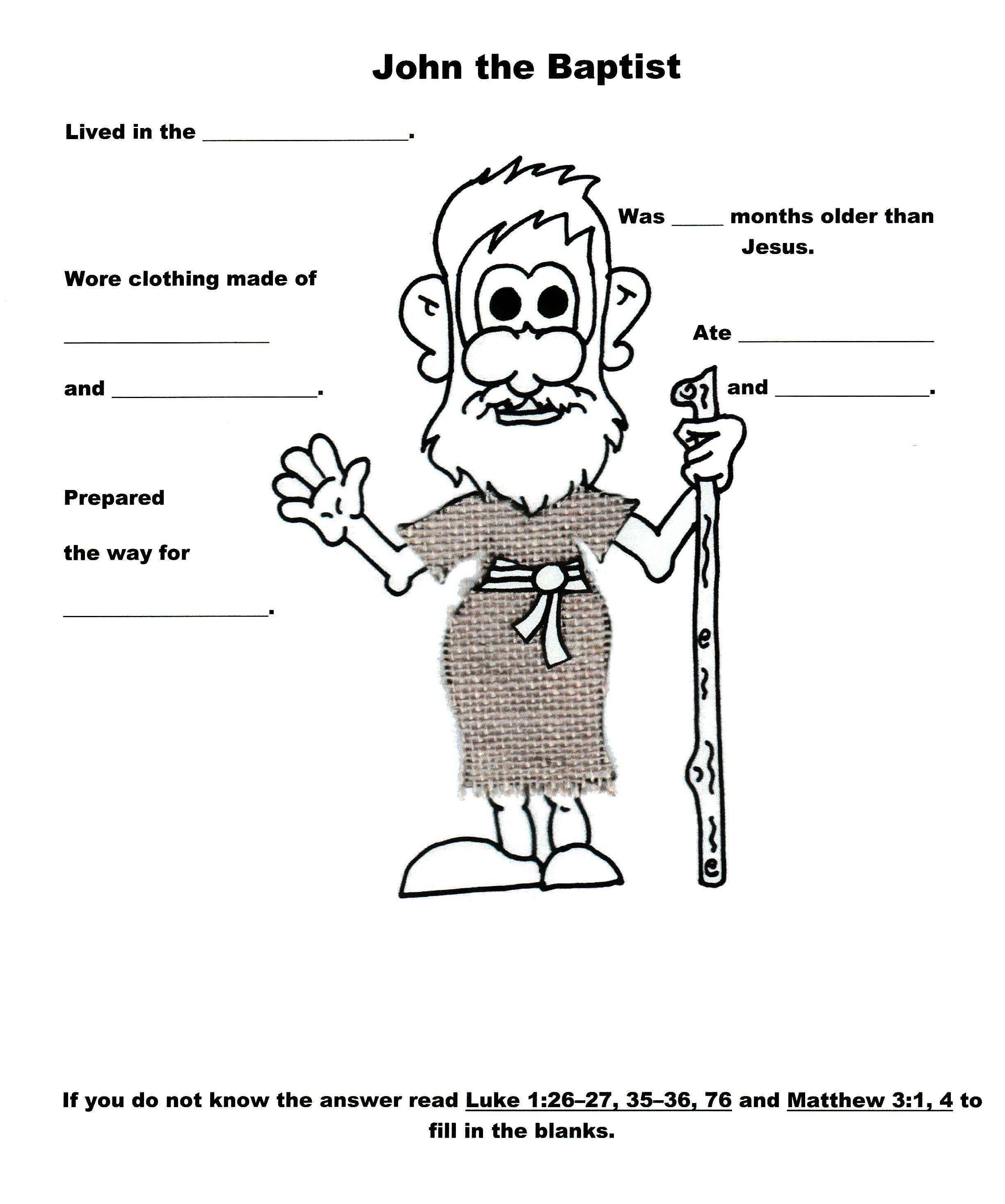 john the baptist worksheet munchkins u0026 angels pinterest