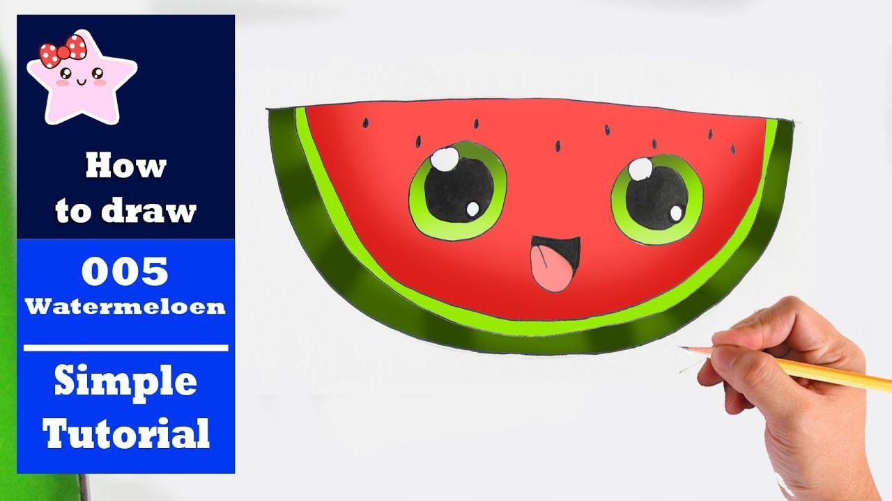 Hoe Teken Je Een Watermeloen Kawaii Beginners Tekenen Les 005 Youtube Watermeloen Tekenen Teken