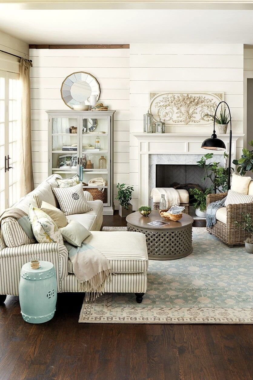 Living Room Decor Trends 2018: Neutral Farmhouse Living Room Decor Ideas