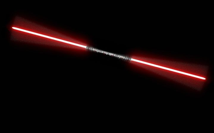 Darth Maul's double-bladed lightsaber fits nicely as your