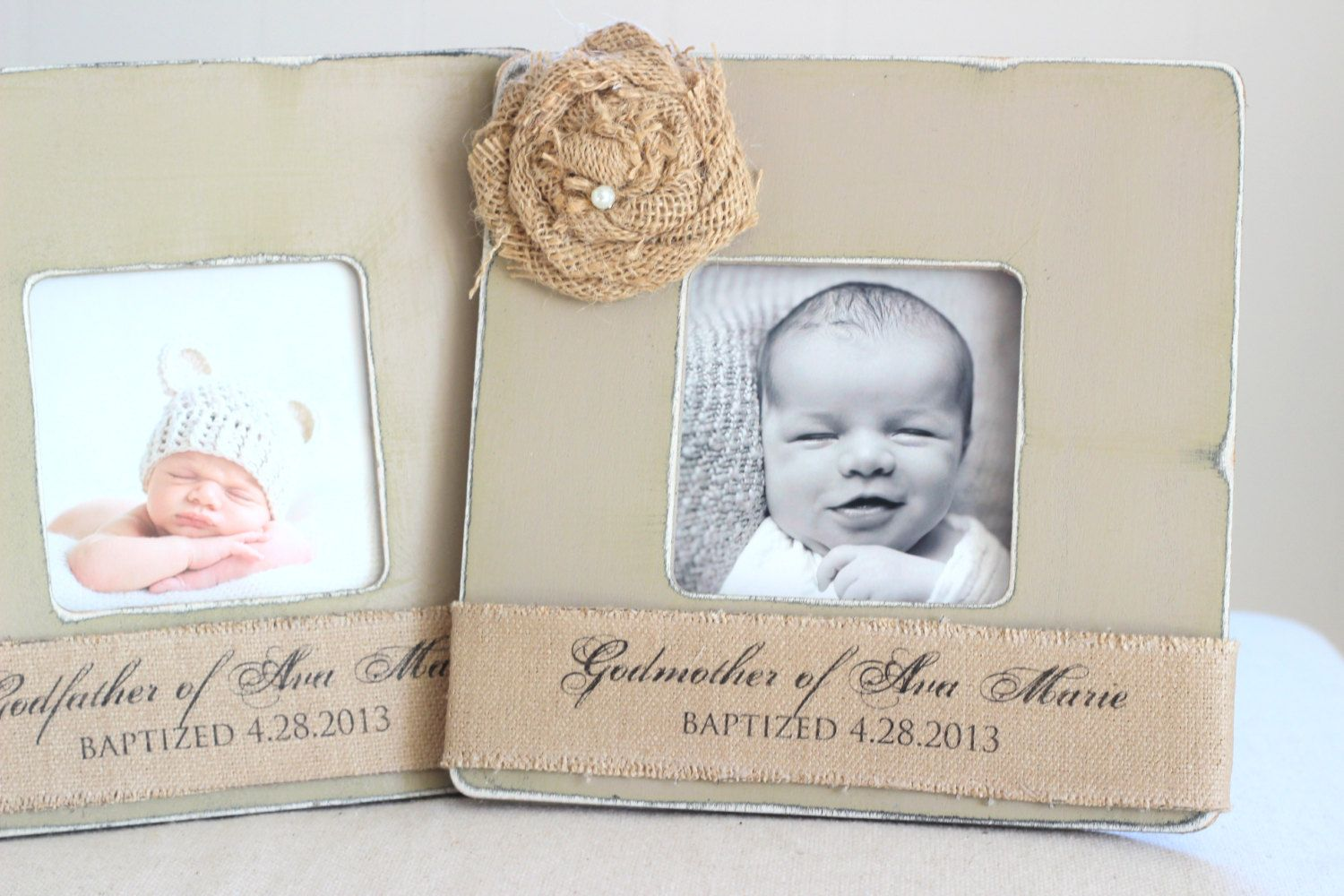 Godmother Godfather Gift Custom Personalized Burlap Picture Frame ...