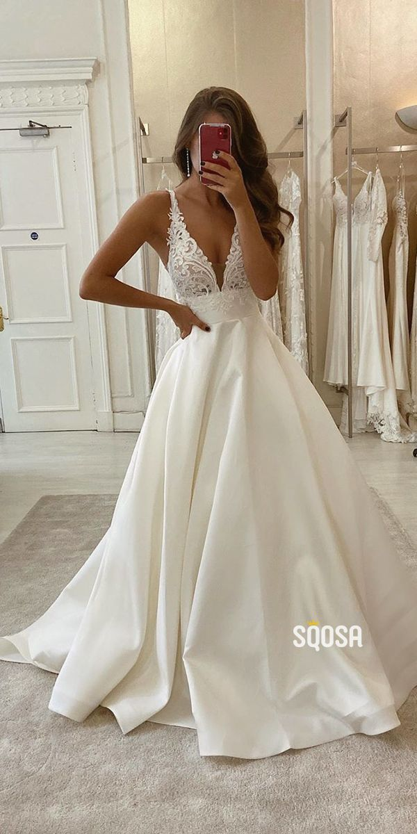 A-Line V-neck Lace Appliques Satin Wedding Dress Bridal Gowns QW0947