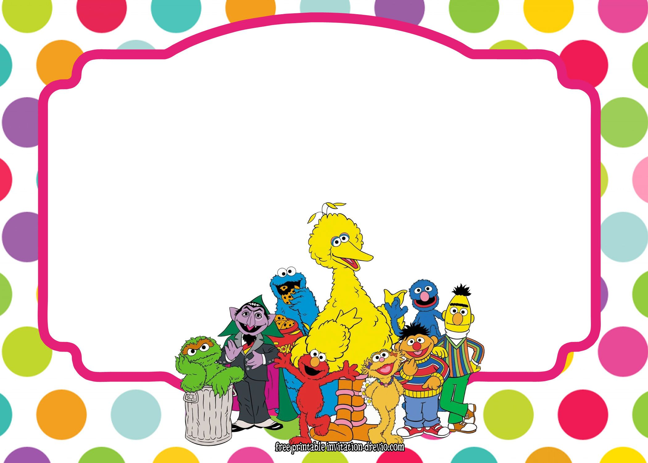 Sesame Street All Characters Invitation Template