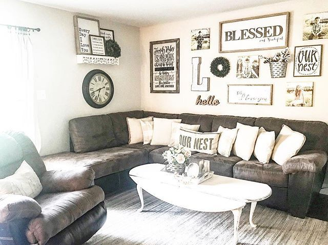 Farmhouse Style Living Room With A Brown Couch Or Sectional Farmhouse Livi Brown Couch Living Room Farmhouse Living Room Furniture Farmhouse Decor Living Room