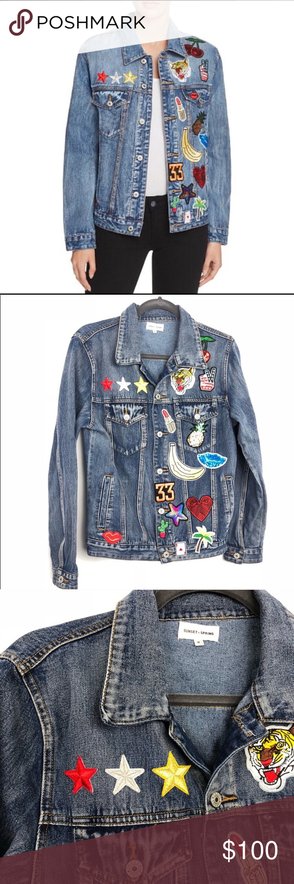 334072f7ad8b2 Sunset + Spring Denim Jacket Denim Jacket with colorful patches. Size M.  Sunset+Spring Jackets & Coats Jean Jackets