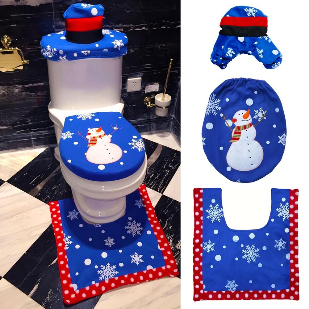 Snowman Bathroom Sets 3 Piece Blue Snowman Toilet Seat Cover Rug Bathroom Mat Set