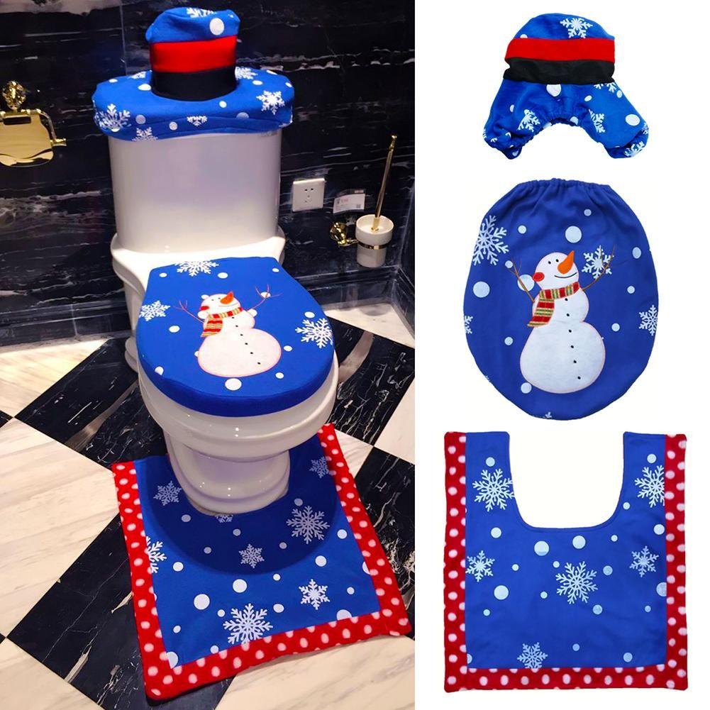 snowman bathroom sets. 3 Piece Blue Snowman Toilet Seat Cover Rug Bathroom Mat Set